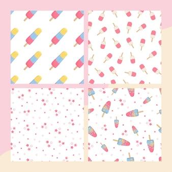 Establecer patrones sin fisuras con helado final estrellas en blanco