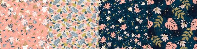 Establecer patrones sin fisuras de moda con flores decorativas dibujadas a mano en tonos melocotón