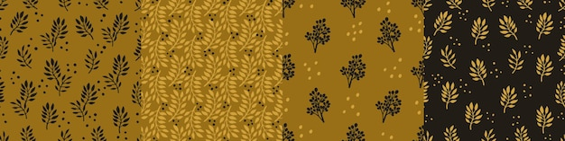 Establecer patrones sin fisuras de moda con flores decorativas dibujadas a mano en tonos oro ocre y negro