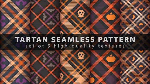 Establecer patrones sin fisuras de tartán de halloween