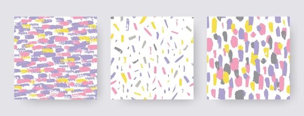 Establecer patrones modernos dibujados a mano de trazo de pincel. formas de textura transparente de vector. fondos abstractos en color boho. impresión decorativa