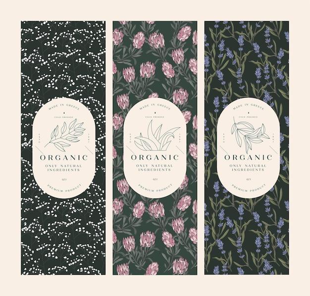 Establecer patrones vintage para cosméticos con diseño de plantilla de etiqueta