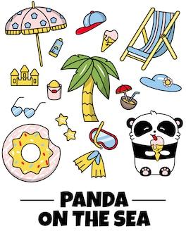 Establecer pegatinas icono lindo panda vacaciones de verano