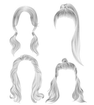 Establecer pelos largos de mujer. boceto de dibujo a lápiz negro. estilo de belleza de las mujeres.