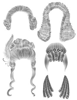 Establecer pelos de mujer y hombre. dibujo a lápiz negro boceto .medieval estilo rococó barroco. peluca rizos peinado