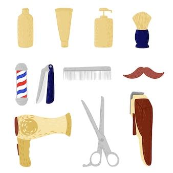 Establecer peluquería sobre fondo blanco. equipo abstracto para bigote de corte de pelo, maquinilla de afeitar, cuchillo, afeitadora eléctrica, cepillo, tijeras, botella, ventilador en doodle.