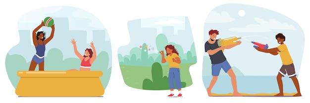 Establecer personajes familiares jugando juegos de verano. niños y niñas chapoteando en la piscina al aire libre con pelota, soplar pompas de jabón, disparar con pistolas de agua en la calle. ilustración de vector de gente de dibujos animados