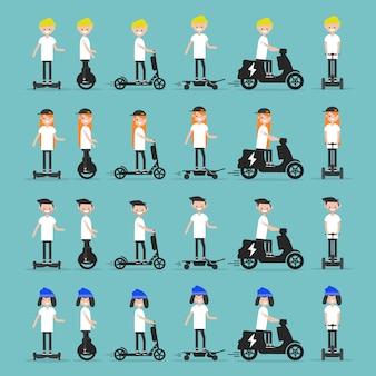 Establecer personajes jóvenes montando vehículos.