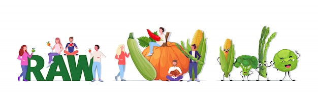 Establecer personas con diferentes verduras y frutas personajes de mascota de dibujos animados vegano concepto de alimentos crudos frescos de longitud completa horizontal