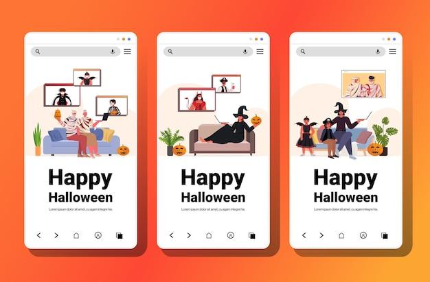 Establecer personas disfrazadas discutiendo durante la videollamada concepto de celebración navideña feliz halloween colección de pantallas de teléfonos inteligentes