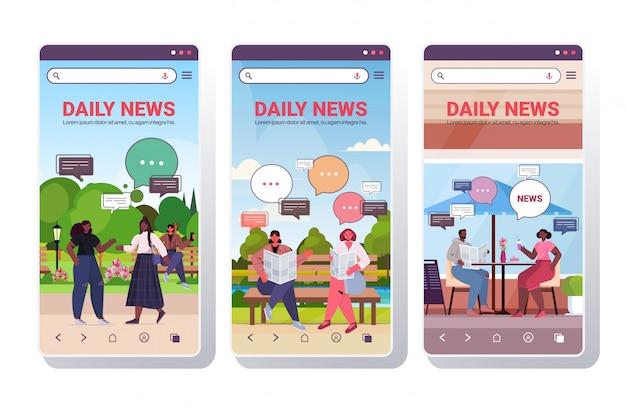 Establecer personas leyendo periódicos discutiendo noticias diarias durante la reunión concepto de comunicación de burbuja de chat