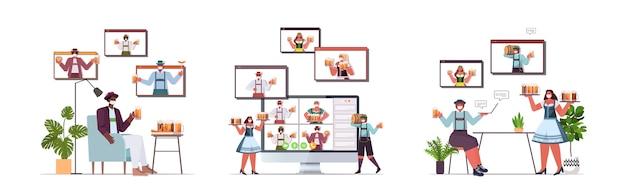 Establecer personas con máscaras médicas bebiendo cerveza discutiendo con amigos en las ventanas del navegador web durante la videollamada