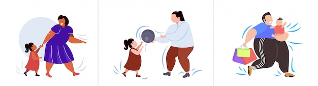 Establecer personas obesas gordas en diferentes poses sobrepeso raza mixta masculina colección de personajes femeninos obesidad concepto de estilo de vida poco saludable