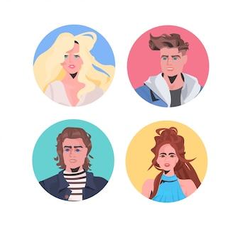 Establecer personas perfil avatares hermoso hombre mujer caras macho hembra personajes de dibujos animados colección retrato