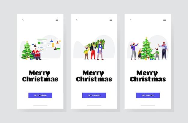 Establecer personas preparándose para las vacaciones de invierno feliz año nuevo feliz navidad celebración coronavirus concepto de cuarentena pantallas de teléfonos inteligentes colección banner