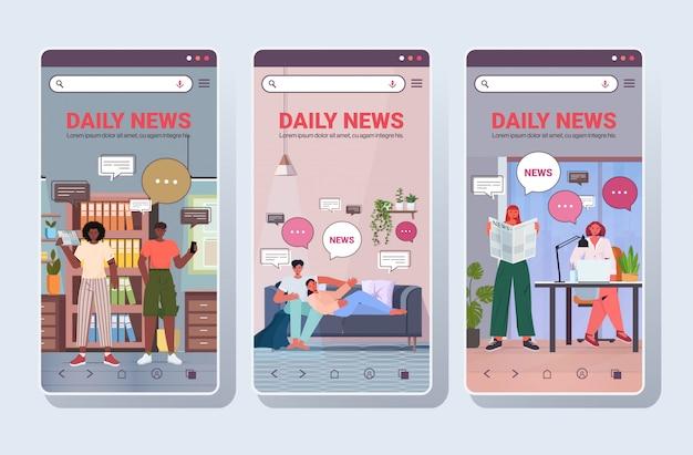 Establecer personas que leen y discuten el concepto de comunicación de burbuja de chat de noticias diarias smartphone pantallas colección retrato copia espacio horizontal ilustración