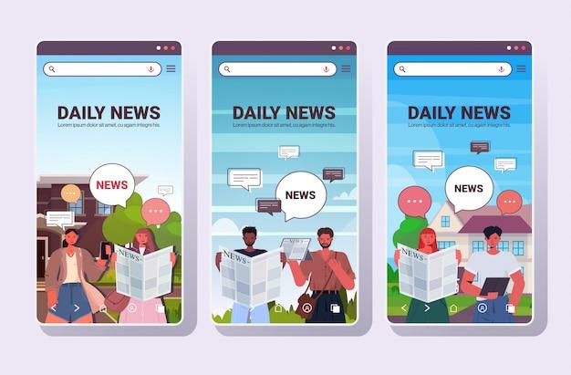 Establecer personas que leen y discuten las noticias diarias chat burbuja comunicación concepto mezclar raza hombres mujeres caminar al aire libre teléfono inteligente pantallas colección retrato copia espacio horizontal ilustración