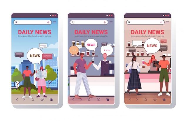 Establecer a las personas que leen el periódico discutiendo las noticias diarias durante la reunión de comunicación de burbujas de chat