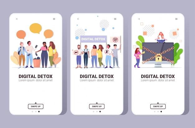 Establecer personas que pasan tiempo sin dispositivos concepto de desintoxicación digital mujeres hombres abandonando gadgets