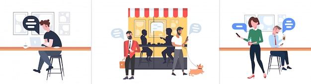 Establecer personas que usan la aplicación móvil chat burbuja medios de comunicación social concepto hombres mujeres caminando al aire libre sentado en el mostrador escritorio conversación conversación moderno street cafe horizontal de longitud completa