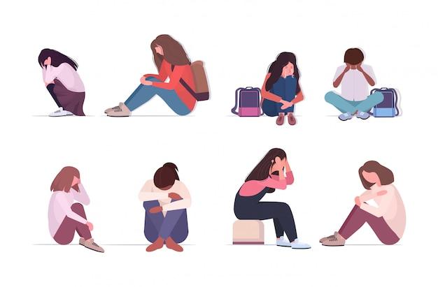 Establecer personas de raza mixta deprimidas llorando problemas de depresión estrés psicoterapia concepto de acoso