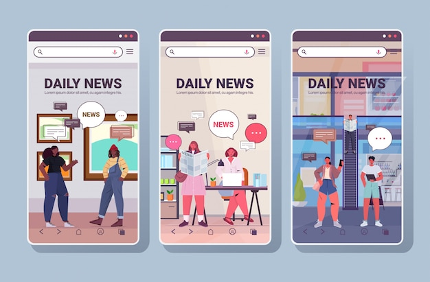 Establecer personas de raza mixta que leen y discuten noticias diarias chat burbuja comunicación concepto teléfono inteligente pantallas colección integral copia espacio horizontal ilustración