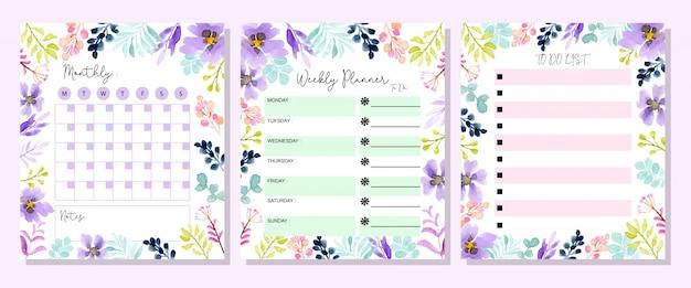Establecer planificador con acuarela floral