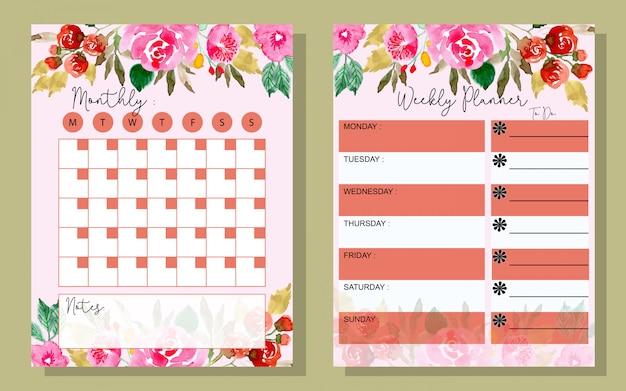 Establecer el planificador mensual y semanal con flores de acuarela.