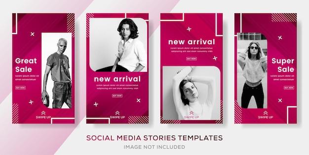Establecer plantilla de banner de publicación de historias abstractas con color degradado para la venta de moda.