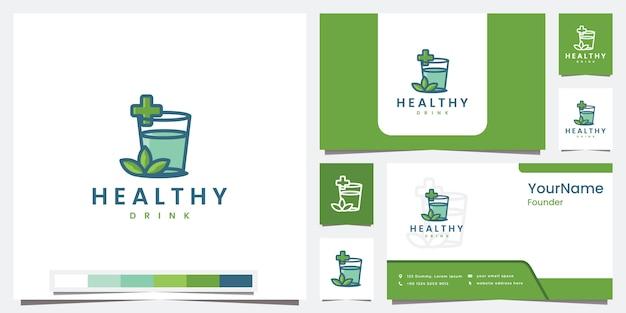 Establecer plantilla de bebida saludable logo