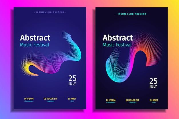 Establecer plantilla de cartel electrónico de música abstracta con forma de degradado