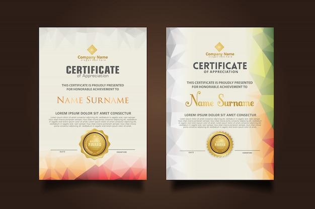 Establecer plantilla de certificado con colores poligonales dinámicos y futuristas y formas modernas