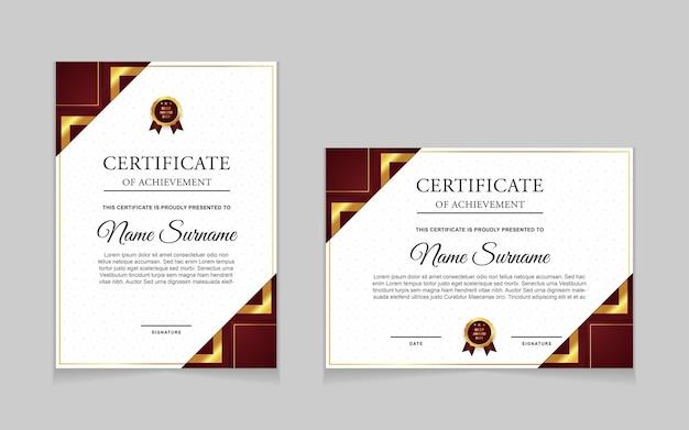 Establecer plantilla de certificado con formas modernas de lujo en color dorado y rojo