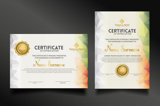 Establecer plantilla de certificado con formas poligonales dinámicas y futuristas