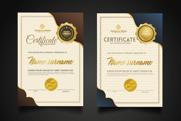Establecer plantilla de certificado vertical con lujo y elegante textura de fondo moderno.