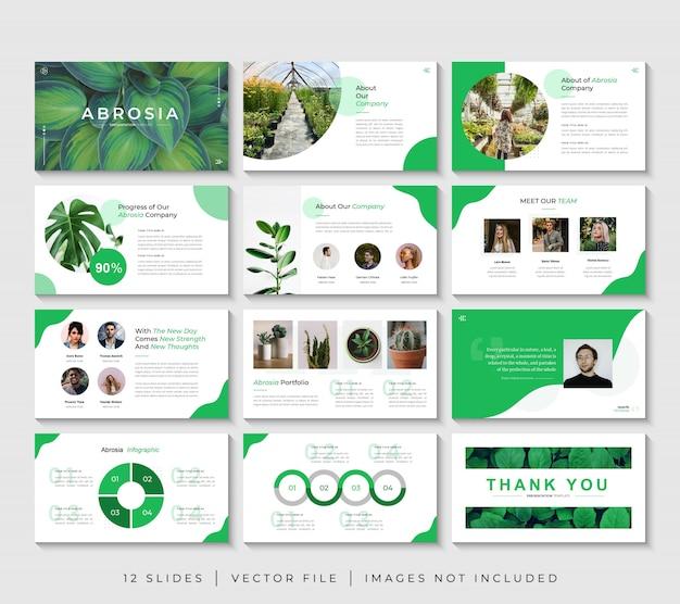 Establecer plantilla de diapositivas de presentación de powerpoint de negocios de naturaleza verde