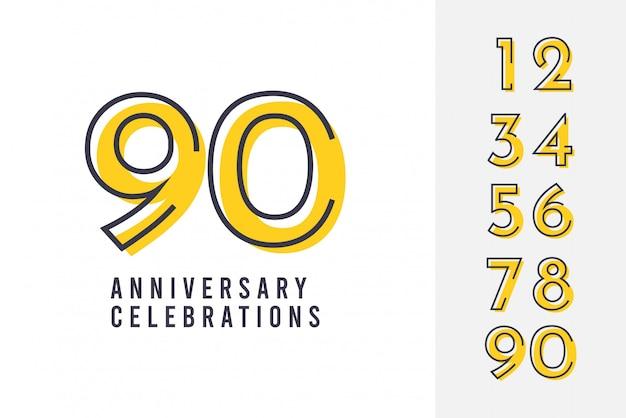 Establecer plantilla de diseño de logotipo de aniversario.