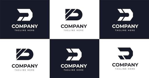 Establecer plantilla de diseño de logotipo de letra d inicial