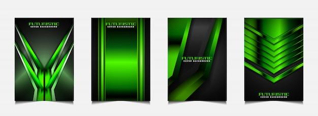 Establecer plantilla de diseño de portada con fondo futurista verde y negro