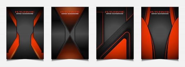 Establecer plantilla de diseño de portada con futurista fondo naranja y negro