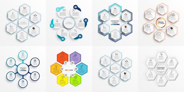 Establecer plantilla de infografía con papel 3d