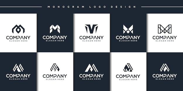 Establecer plantilla de logotipo abstracto moderno letra m