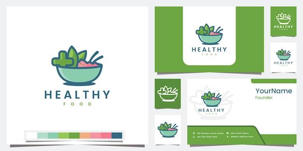 Establecer plantilla de logotipo de alimentos saludables