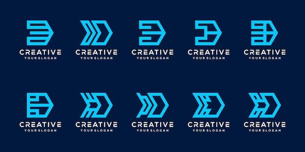 Establecer plantilla de logotipo de letra d de paquete