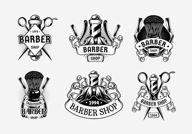 Establecer plantilla de logotipo vintage de barbería