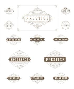 Establecer plantilla de logotipos de lujo florece caligrafía elegante ornamento líneas ilustración.