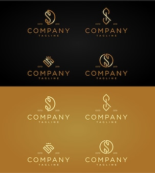 Establecer la plantilla de logotipos de lujo letra s.