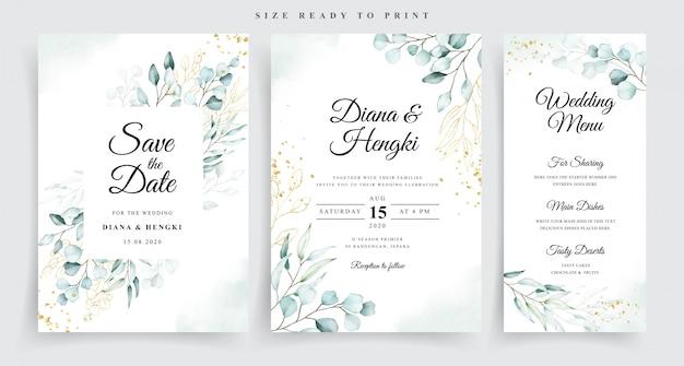 Establecer plantilla de tarjeta de boda con hermosa acuarela de eucalipto suave