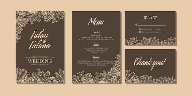 Establecer plantilla de tarjeta de invitación de boda con doodle floral margarita flor contorno monocromo estilo vintage retro tradicional