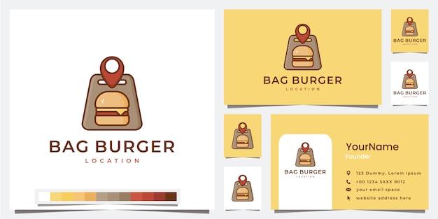 Establecer plantilla de ubicación de hamburguesa de bolsa de logotipo